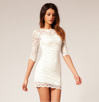 Wholesale Stylish Lace dress club dress Sexy slim Tight skirt Nightclub dress black white