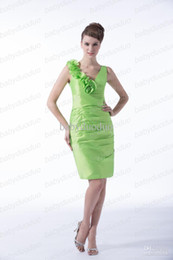 Wholesale Green Sheath Dresses Taffeta Homecoming Dresses Short mini Prom Dresses Ruched Cocktail Dresses