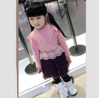 3-8 year old Spring / Autumn Long Sleeve Korean baby girls dress long sleeve lace yarn thick with cashmere dress children dress