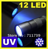 Flashlights LED 80 to 149 20pcs High Quality 12 LED UV flashlight 395-400nm UV LED Torch , UV LED flashlight