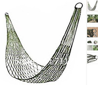 Wholesale 200 x cm Meshy Hammock Cot Bed Mabogany Hammock with Metal Loops for Outdoor Army Green