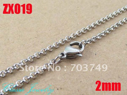 2mm 360-960mm hot 316L stainless steel necklace round rolo chains women fashion jewelry 20pcs ZX019
