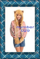 Wholesale 29 color can be mixed SPIRIT FLUFFY PLUSH ANIMAL HOOD HATS WITH LONG SCARF AND MITTENS HUSKEY