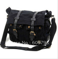 Wholesale Fashion men shoulder Messenger Bag military Canvas Geniune leather laptop bag Black