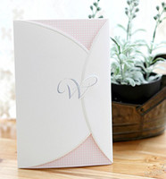 Wholesale Customized pink dot words wedding invitation out card fold invitations card favors