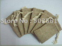 Wholesale 200pcs small promotional jute gift pouch bags