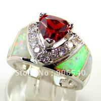 Three Stone Rings Other Unisex Great ! Opal Ring inlay Wedding Bands jeweilry wtih Garnet Zicron DSC01116 free shipping