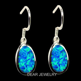 Fashion jewelry 2018 925 SIlver Earrings Silver hook blue Opal earring Rhodium plated DSC08428 free shipping