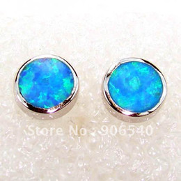 Fashion jewelry exquisite giftsMinum order USD 15.0 Whole sale 925 Opal earring Stud Earring Fire opal Jewelry DR00593E-8.0mm Free Shipping
