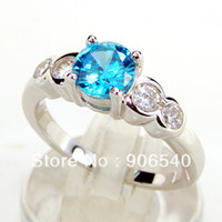 Wholesale Wedding Ring Sterling Silver Shinny Blue Topaz DR80344PA G