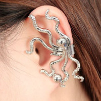 Clip-on & Screw Back clip on earrings - Vintage Punk octopus Ear Cuff Clip on Screw Back Earrings two color bronze and silver cheap fahion Jewelry