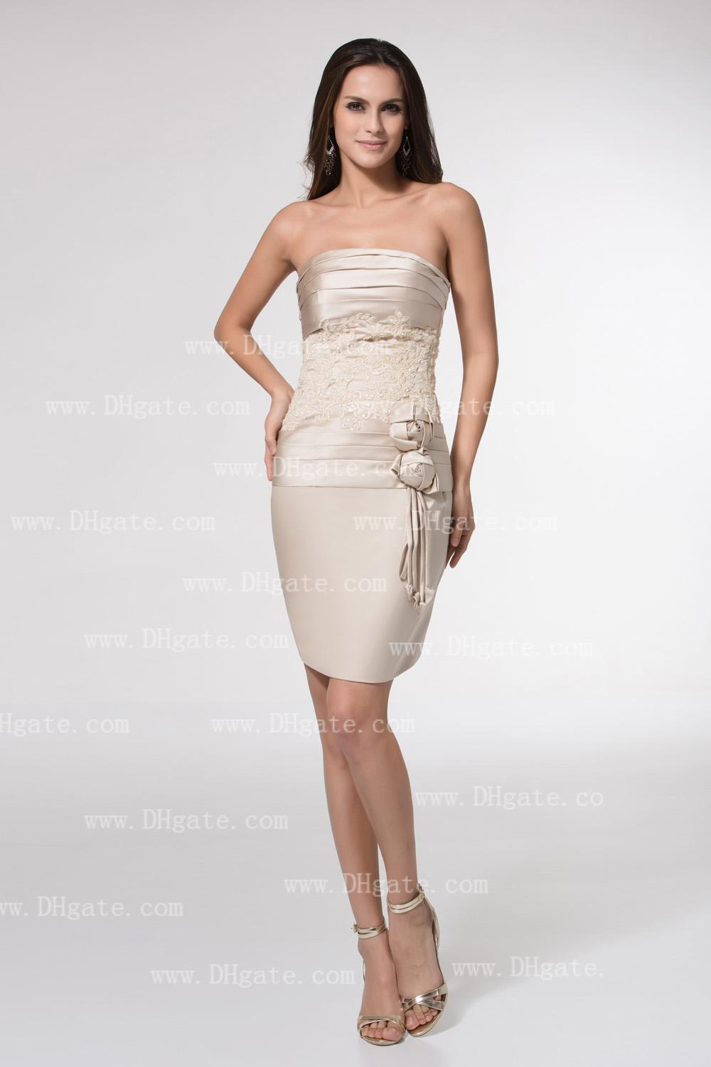 Ivory Party Dress Short Sheath Strapless Ruched Lace Bodice Handmade Flower Draped Homecoming