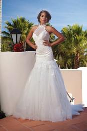 Wholesale Beautiful A High Neck Lace Appliques Flirty Wedding Dress