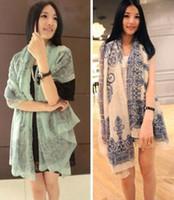 Wholesale Fashion Spring Autumn Women Ladies Scarf Wrap Shawl Cotton Linen Print Floral Blue Green Pink