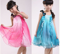 Wholesale Summer kids dress children clothes Year dream colour Condole belt girls dress beach wear sundress
