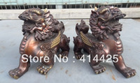 Metal lion statue - China Chinese Pure Bronze Wealth Unicorn Dragon Kylin Fu Dog Lion Statue Pair