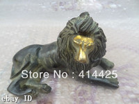 Wholesale China Bronze Gilt Sculpture Wealth Animals Chinese Foo Fu Dog Lion Statue