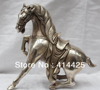 Wholesale 9 quot China Chinese Silver Successful Fengshui War Tang Horse Statue Sculpture