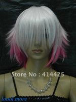 Wholesale Exquisite White Pink Mix Short Straight women Cosplay Wig Free Hairnet SD71