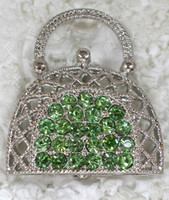 Wholesale C130 K Peridot Crystal Rhodium Plated Handbag Purse Fashion Costume Pin Brooch