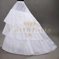 Wholesale 2017 New Arrival Crinoline Petticoats Three Hoops Three Layer Underskirt With Long Train Wedding Dresses Petticoats Cheap