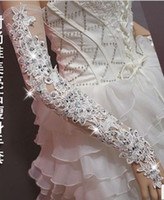 Wholesale 2013 Charming Off White Wedding Dress Bridal Gloves Bridal Accessories Long Length Beaded Lace Sequi