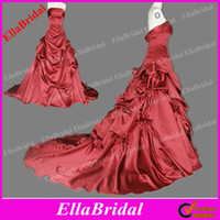 Wholesale Hot Red Satin Court Train Strapless A Line Wedding Dresses Bridal Gown with Handmade Bows Ella0211