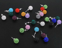 Wholesale 8mm disco cz clay balls rhinestone crystal stud earrings colors mix