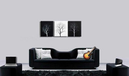 Abstract Wall Tree Black White oil painting canvas Simple modern landscape artwork modern Home Office wall art decor Handmade
