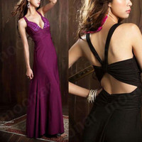 attire prom gowns - Prom Deep V Bead Cross Back beading Formal Gown A line Long Dresses Evening Party Cocltail attire E0
