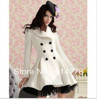 Wholesale Free Fhipping Pink Doll Women double breast Long Wool Coat Pure White Twill High quality fabric