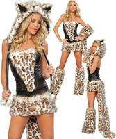 Wholesale Sexy Big Bad Wolf Leopard costume lace up corset Christmas Halloween festival costumes fancy dress u