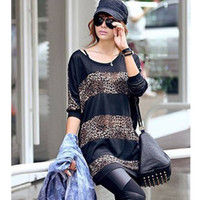 Women cotton blended Round 2013 Fashion women casual Leopard striped T-shirts Korean long style bat sleeve women's clothing