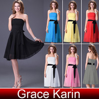 Wholesale Short Strapless Girl Bridesmaid Dress Ball Gown Prom Dresses With Belt CL1091