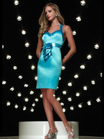 Wholesale Hot Seller Satin Sheath Knee Length Halter Blue Party Dress