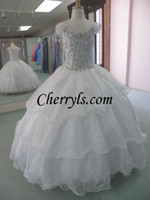 Wholesale NEW A LINE UNIQUE FASHIONS White kids GIRLS NATIONAL PAGEANT GOWN GLITZY DRESSES NWT PARTY PROM