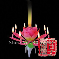 Wholesale Lotus Birthday Candles Non Rotating Sparkling Music Candles Flower Candles Eight Crafts Candles
