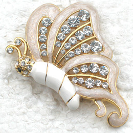 Wholesale Crystal Rhinestone Enameling Butterfly Brooches Pins Jewelry gift C935