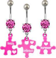 Women's best friend rings - Best Friend Forever Teardrop Belly Button Ring Navel Ring Body Piercing Jewelry