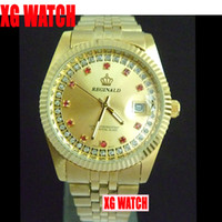 Wholesale Hot Sale Full Gold Men s Business Watches Fashion Watches With Date Gift Red Jewelry Luxury Watches