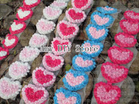 accessories for babies garment - x7CM chiffon rosettes heart trim chiffon flower Garment hair accessories for baby girls HH051