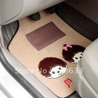 Wholesale Monchhichi Auto Car Plush Skidproof Floor Mat Foot Pad Carpet Offwhite Black Gray Optional