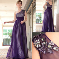 Wholesale 2013 Chiffon long Evening Dresses prom dresses one shoulder purple Crystal sequins beaded A line