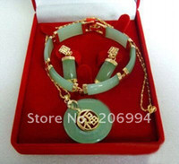 Wholesale costume jewelry natural jade Earring Bracelet Pendant Necklace set
