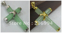 Wholesale real jade jewelry Beautiful Jewellery Green Jade Cross Pendant pc free chain