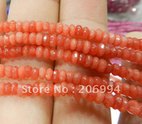 "Crystal   Wholesale Fine! 2x4mm Faceted Red Ruby Abacus Loose Beads Gemstone 15"" 2pc lot fashion jewelry"