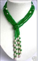 Pendant Necklaces green white jade - design Green jade White Pearl scarf form necklace fashion jewelry