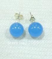 Unisex blue jade earrings - fashion jewelry tibet silver mm Blue Jade Stud Earring pc