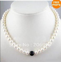 Wholesale Wholesales Charming mm Fresh water White Cultured Pearl Onyx Necklace fashion jewellery