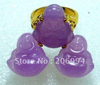 Wholesale Wholesales purple jade Carved earring ring set